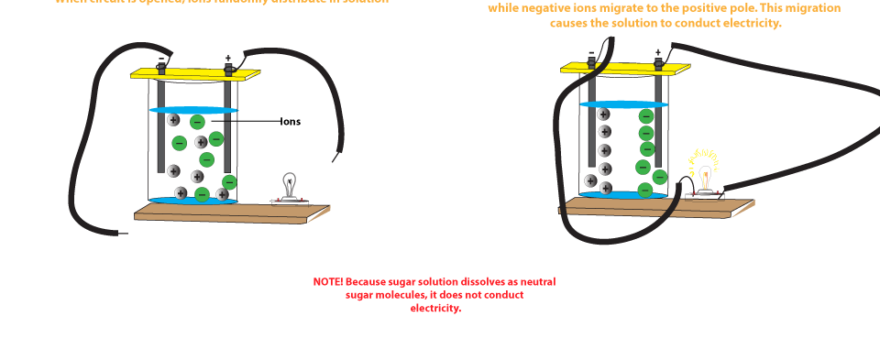 Salt Water Conductor : Why does salt solution conduct electricity while sugar